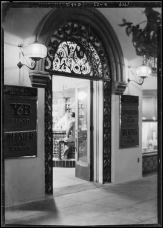 Night shots on drug store door, Green Lantern Soda Fountains, Southern California, 1929