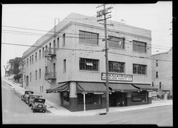 Store buildings - North Figueroa Street and Boston Street and on La Brea Avenue Swanfeldt & USC Digital Library - Fine Art Prints - Wall Art - Printed ...