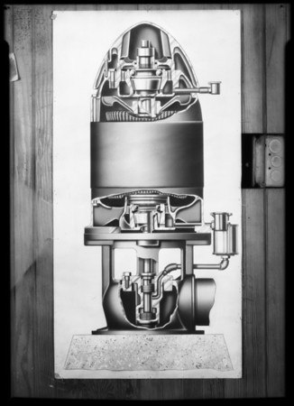 Cut-away photograph of pump, Southern California, 1931