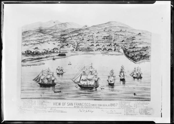 Drawing of San Francisco, 1846, Southern California, 1931