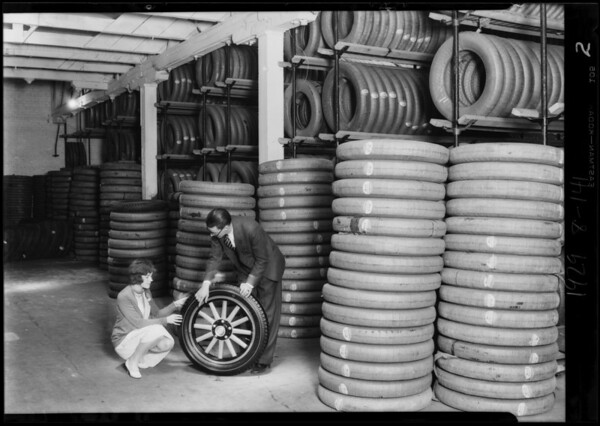 New tire rack & stock room, Southern California, 1929