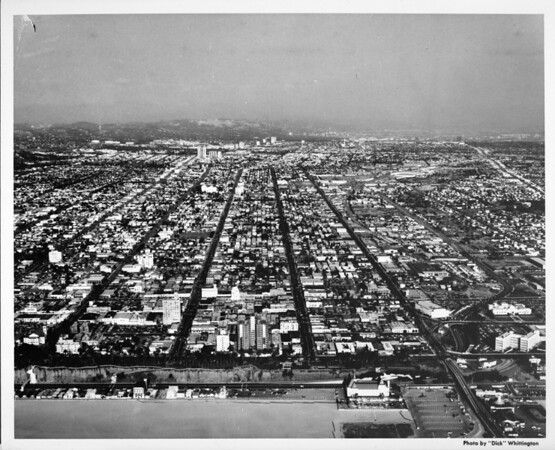 Aerial view of Santa Monica towards the east