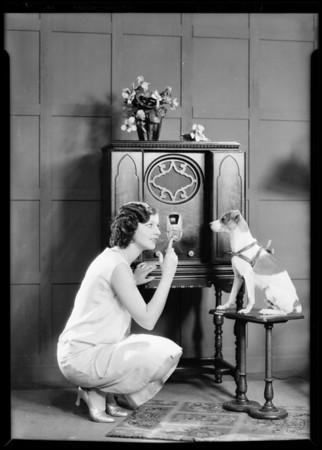 Patricia O'Grady and radio, Majestic Radio, Southern California, 1929