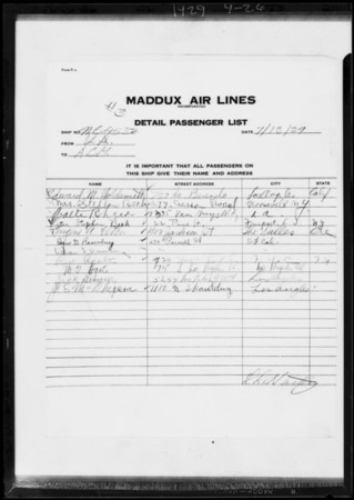 Copy of passenger list of July 13th, Southern California, 1929