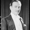 Portrait in full dress suit, Jack Chefé, model, Southern California, 1931