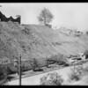 Broken pipe & retaining wall in Holmby Hills, Los Angeles, CA, 1929