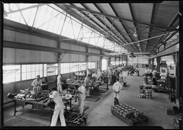 Interiors of airplane motor factory, Southern California 1929