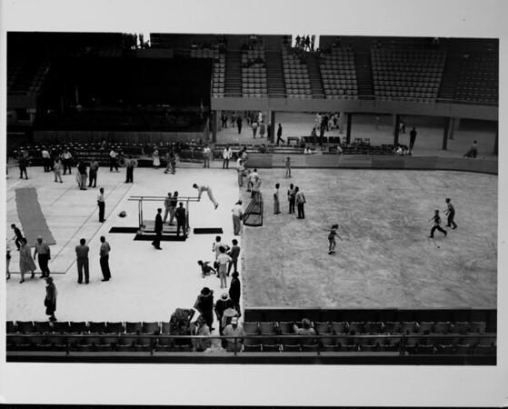 Los Angeles Memorial Sports Arena, interior view, Memorial Day dedication ceremony, gymnastics demonstration