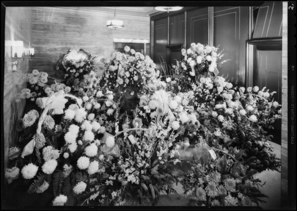Flowers on opening day, Pellissier Building, Los Angeles, CA, 1931