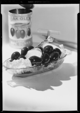 Dish of olives, Southern California, 1931