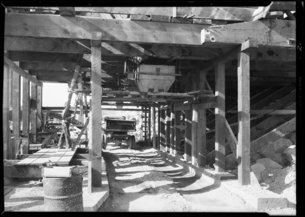Gravel bunker for bridge under construction by Oberg Brothers, Southern California, 1931