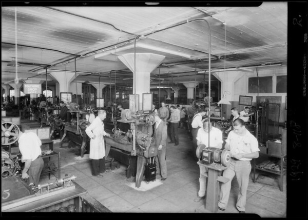 Statue and machine shop, Southern California, 1929