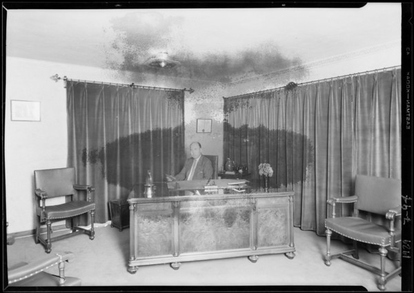 J.B. Melim in his office, 866 South Western Avenue, Los Angeles, CA, 1929