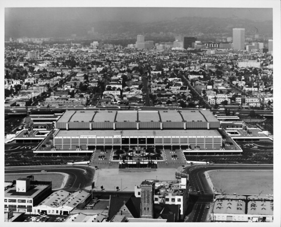 Aerial view facing west over the Convention Center in Downtown Los Angeles