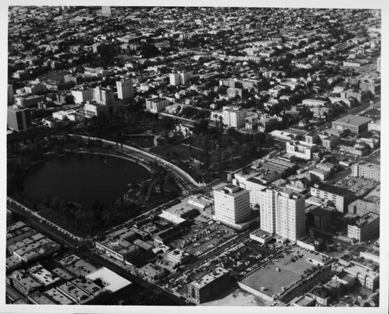 Aerial view facing north over MacArthur Park in the Westlake district of Los Angeles