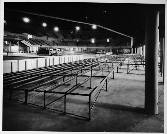 Los Angeles Memorial Sports Arena, interior view, floor seating under construction