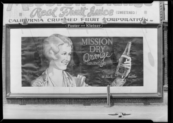 Signboard, girl and bottle, 1601 East 16th Street, Southern California, 1929