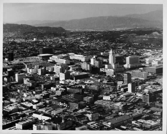 Aerial view facing north over Downtown Los Angeles and the Civic Center