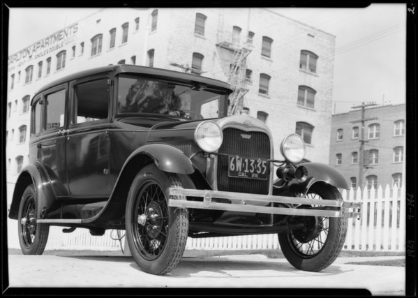 Ford equipped with Tiffany oil gauge, Southern California, 1929