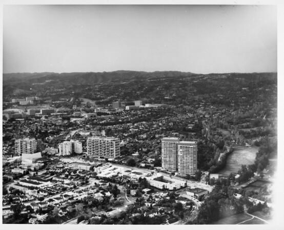 Aerial view of Westwood looking west