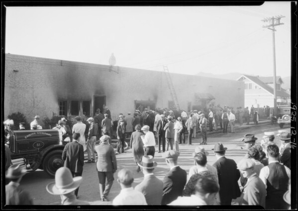 Studio fire, Southern California, 1925