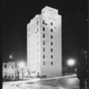 Mountain States Life building illuminated at night, Southern California, 1929