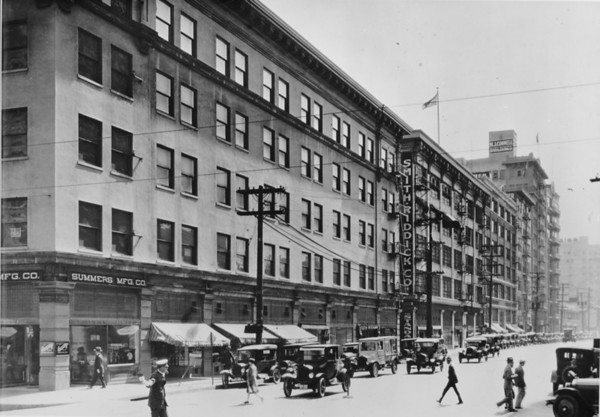 Los Angeles Street looking south and east from Sixth Street, Smith-Riddick Company, Summers Manufacturing Company, M.J. Connell Building at 746 South Los Angeles Street