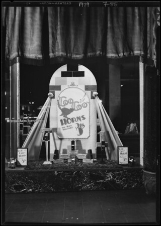 Window display in Western Auto Supply Co. store, Southern California, 1929