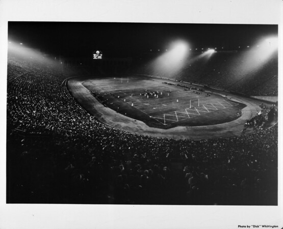 Night football game at the Coliseum in Exposition Park