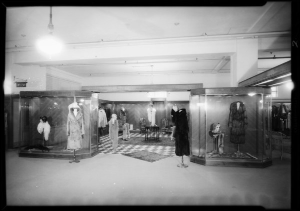 New fur department, Broadway Department Store, Los Angeles, CA, 1931