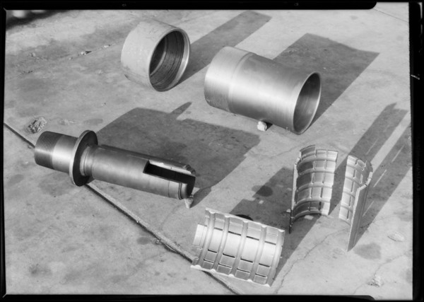 Oil tool parts, Elliott Manufacturing Co., Southern California, 1931