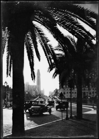 Traffic on Wilshire Boulevard, Southern California, 1931