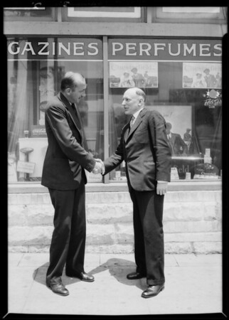 Mr. Weston & Mr. Tories shaking hands, Southern California, 1929