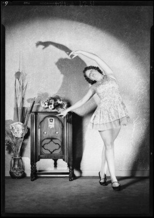 Belcher Grecian dancers and radio at studio, Southern California, 1929