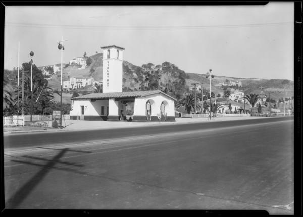 Service station at North Cahuenga Boulevard & Hollywood Boulevard, Los Angeles, CA, 1930