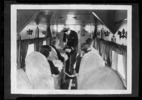 Composite of serving coffee in ships, Southern California, 1929