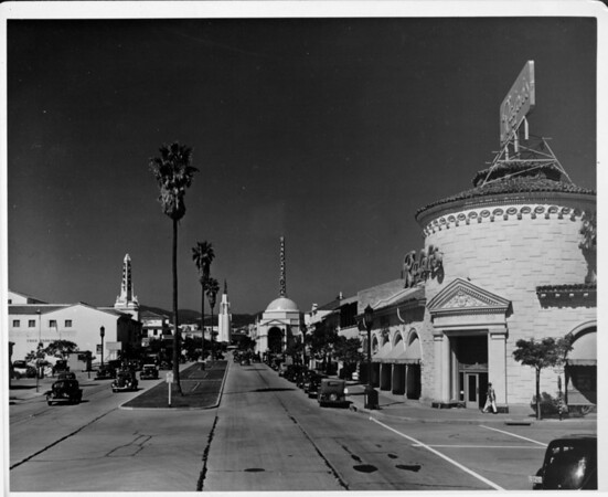 Car-lined street in Westwood, California. Ralphs is on the corner