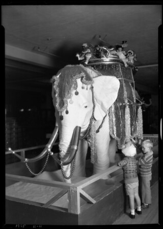 Elephant in toy department, Broadway Department Store, Los Angeles, CA, 1925