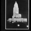 Retouched shot of city hall at night, Los Angeles, CA, 1929