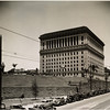 Looking west past the Hall of Justice towards the Prohibition billboard atop the Women's Christian Temperance Union building in the Civic Center