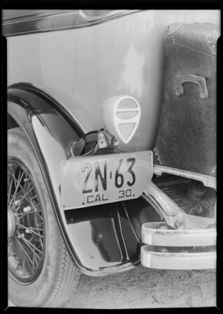 Tail lamp on DeSoto car, Southern California, 1930