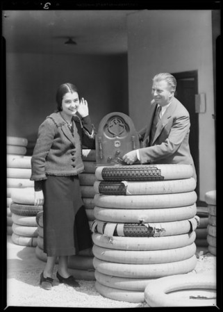 Mr. Foy and tire publicity, Southern California, 1931