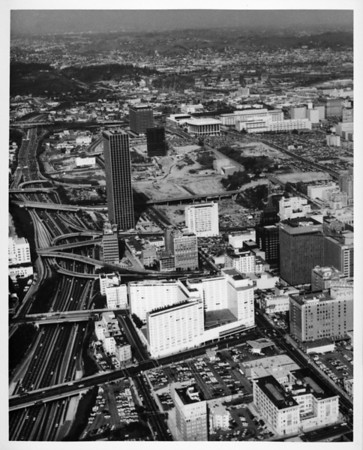 Aerial view facing north over Figueroa Street in Downtown Los Angeles