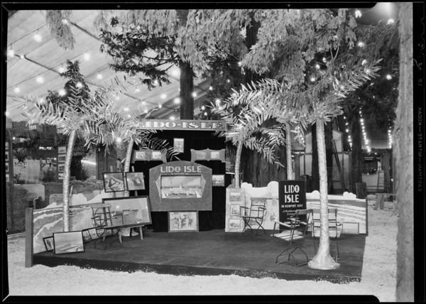 Booth at California land show, Lido Isle, Southern California, 1930