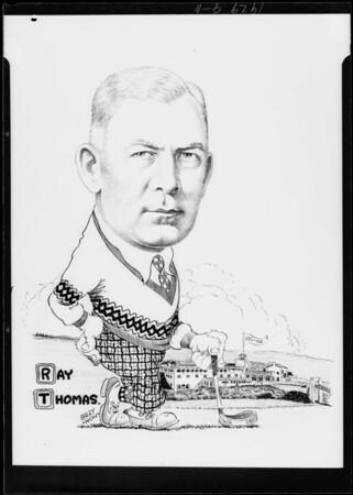 Copy of cartoon of Ray Thomas, Southern California, 1929