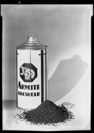 Armite cans with labels, Southern California, 1931
