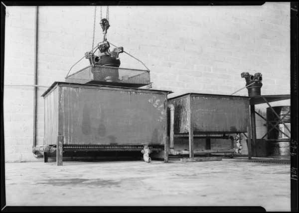 Turco tanks in repair shop, Southern California, 1929