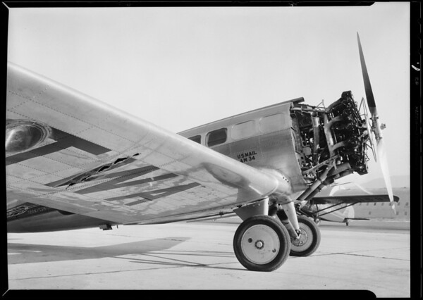 Western Air Express, tear under wing, Southern California, 1931
