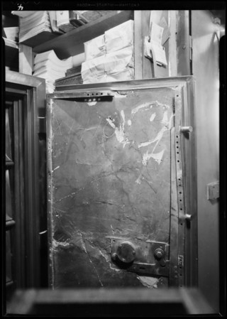 Safe to show damage after robbery, Southern California, 1931