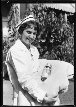 Nurse and 'oiler', Southern California, 1929